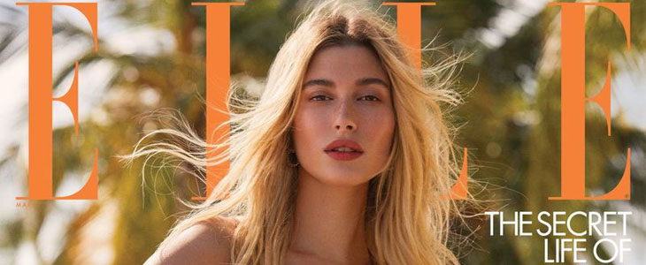 Elle March 2020 Hailey Bieber