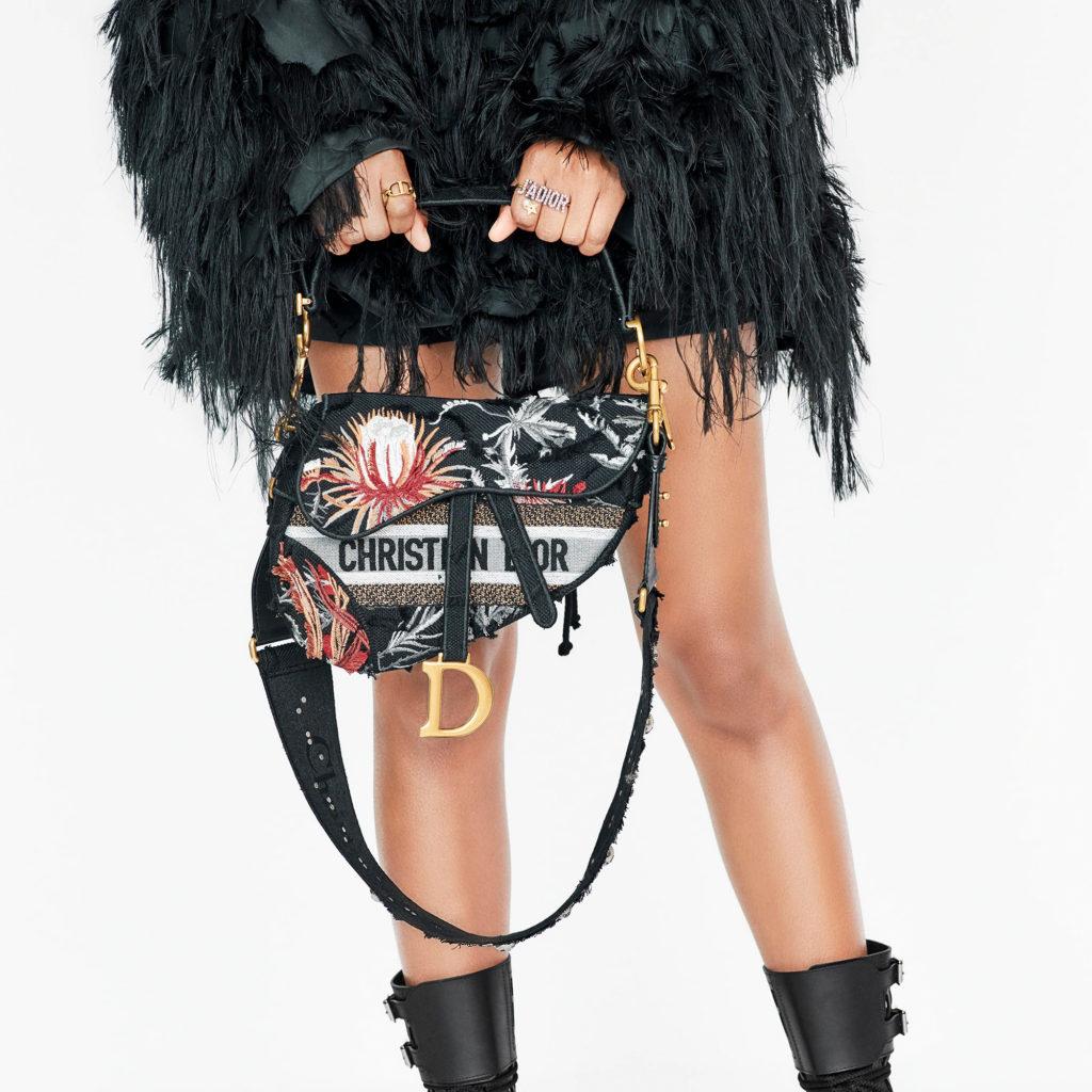 Dior Saddle Bag Black Camouflage