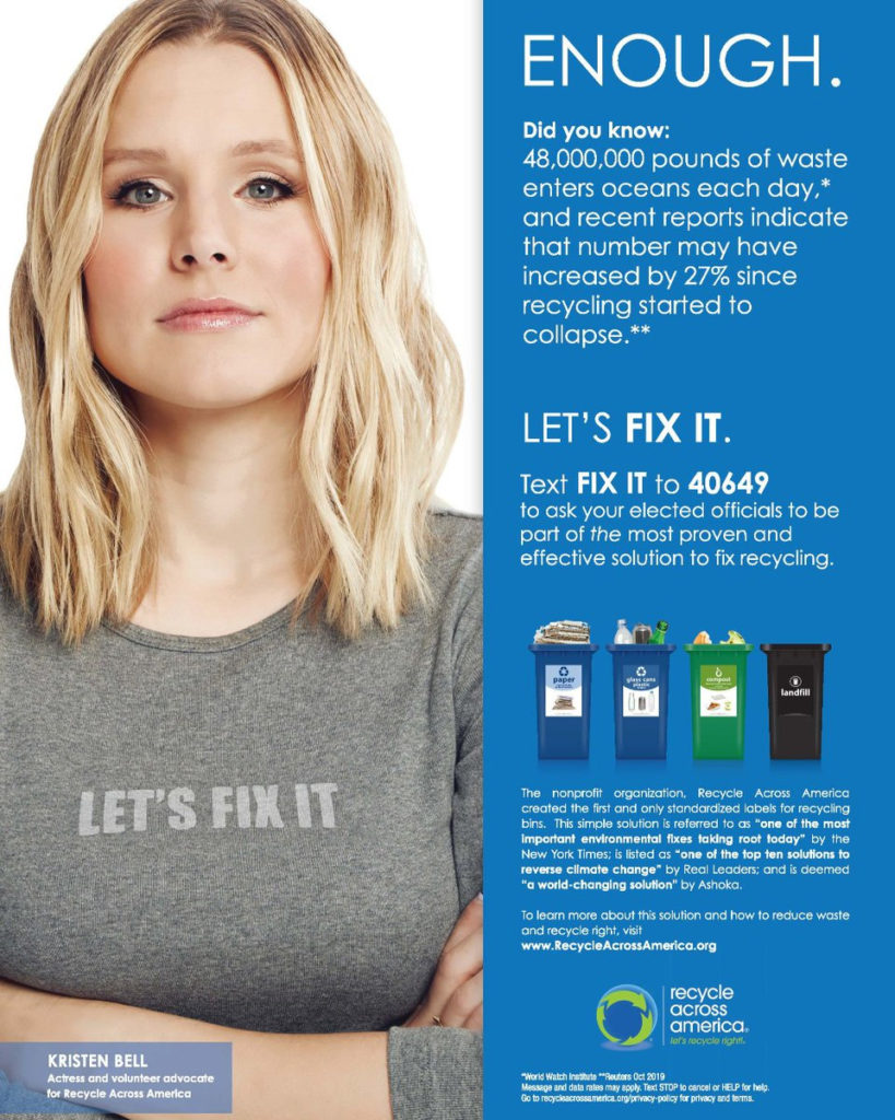 Kristen Bell Recycle Across America